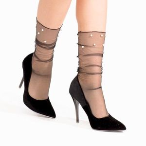 Pearl Embellished Sheer Ankle Stockings